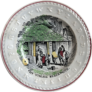 Early Transferware Alphabet Plate Depicting The Village Blacksmith