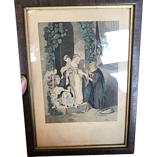 Vintage Victorian Godeys Print Featuring The Fortune Teller in Original Frame