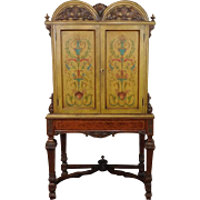 Italian Rococo Style Hand Painted & Inlaid Mahogany Closed Door China Cabinet c1920s