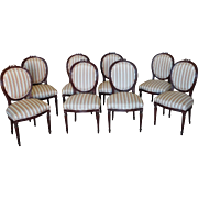 Set Of 8 French Louis XVI Style Dining Room Side Chairs, c1960s ~ Stain Painted Brown