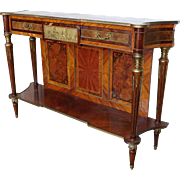 Mid 20th Century Inlaid Marquetry Satinwood French Louis XVI Style Hallway Console Pier Table