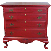 Very Nice Painted Red Queen Anne Style Bedroom 4 Drawer Chest c1980