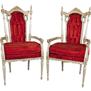 Pair Of Ugly Vintage Red Velvet Tufted Upholstered Painted Antiqued White Italian Provincial Armchairs c1950s