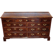 Banded Elm & Mahogany Henredon Furniture Aston Court 9 Drawer Bedroom Dresser c1990s