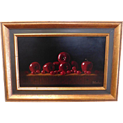 """Signed Still Life Framed Painting ~ Edward Anthony Herbes (American 1916-1990) """"Cherries"""" #7674 ~ 1977"""