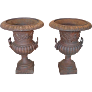 "Very Good Pair Of 20th Century Rusted Color Cast Iron Garden Urns ~ Flower Pots ~ 30""H"