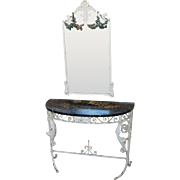 Fine Marble Top Wrought Iron Demilune Hallway Console Table Table w/ Iron Mirror c1930s
