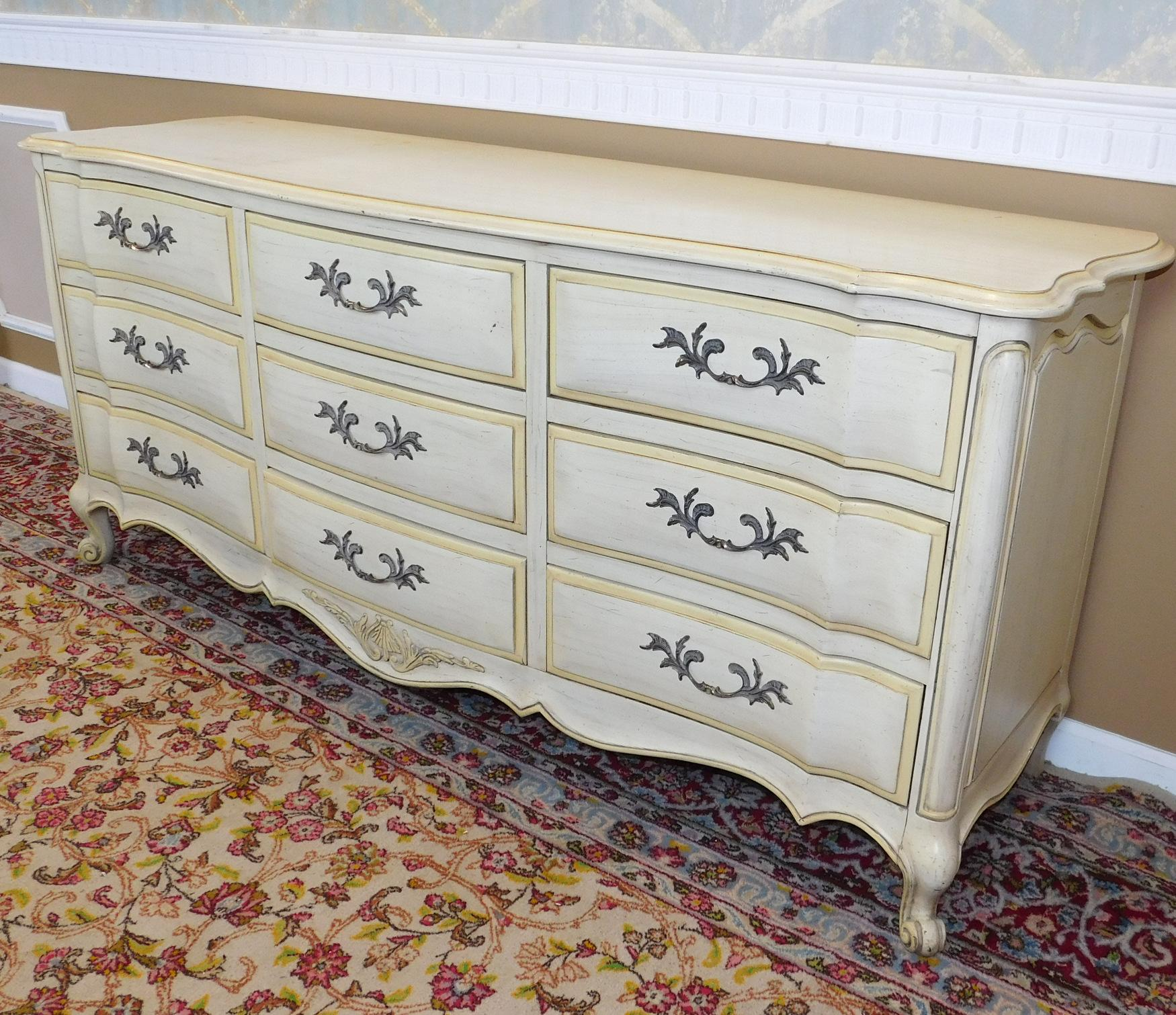 White Fine Furniture Co Painted French Provincial 9 Drawer Bedroom