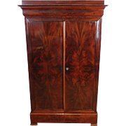 Antique 19th Century Directoire Style Flame Mahogany Double Door Armoire c1880