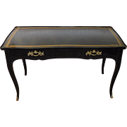 Very Fine Louis XV Black Lacquered & Leather Top Jacques Bodart  French Style Writing Desk Bureau Plat c1950s