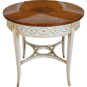 John Scalia - Schmieg & Kotzian Round Burled Elm Painted Base Occasional Side Table c1960s