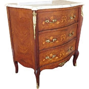 Late 20th Century Inlaid walnut Marble Top 3 Drawer French Style Commode Chest of Drawers c1980s