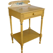 Antique Sheraton Style 19th Century Painted Country Single Drawer Washstand Table