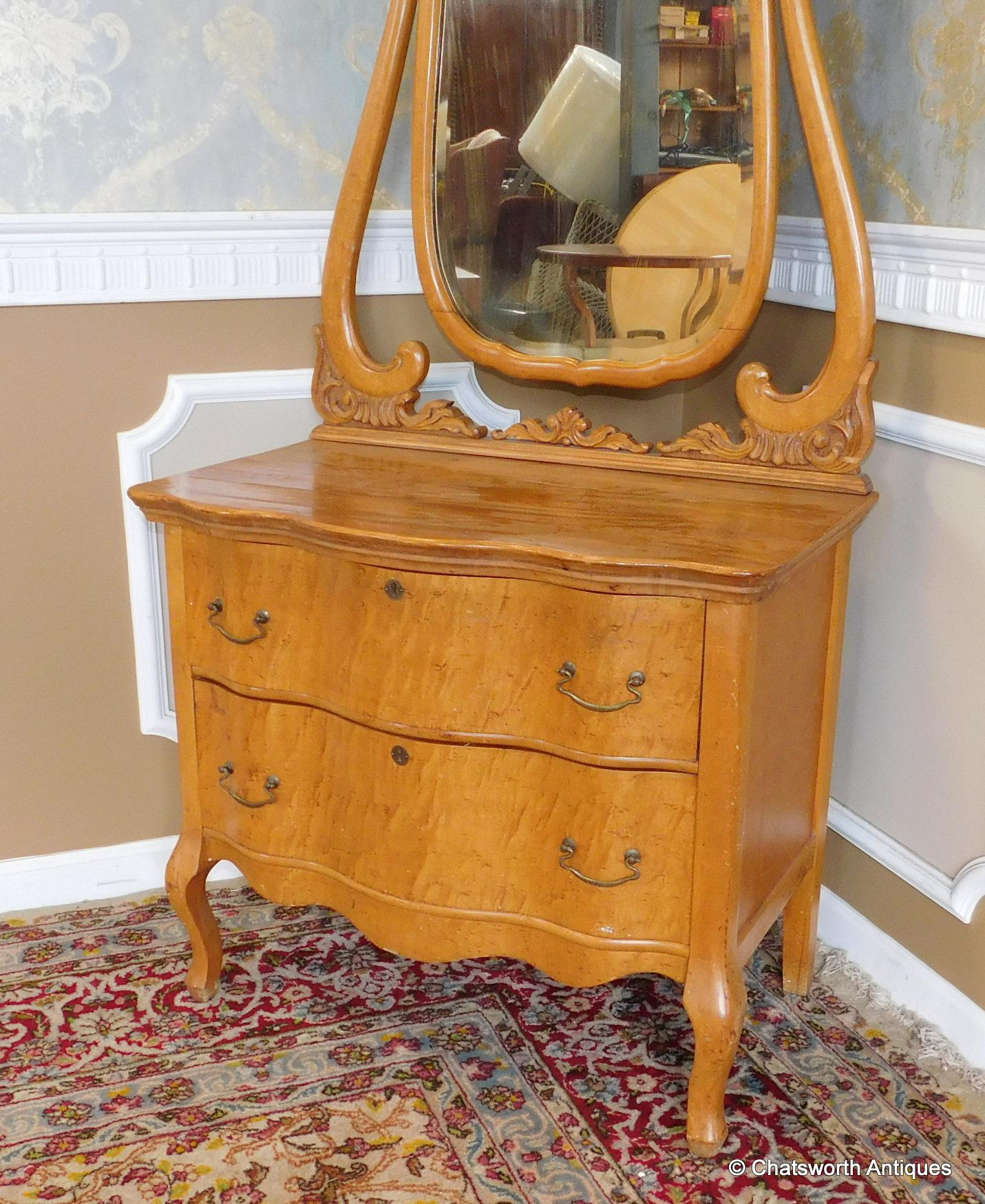 Roll over Large image to magnify, click Large image to zoom - Antique Late Victorian Birds-Eye Maple 2 Drawer Princess Dresser W