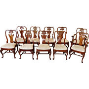 Set 10 Imported 1990s Carved Mahogany Queen Anne Style Dining Room Chairs