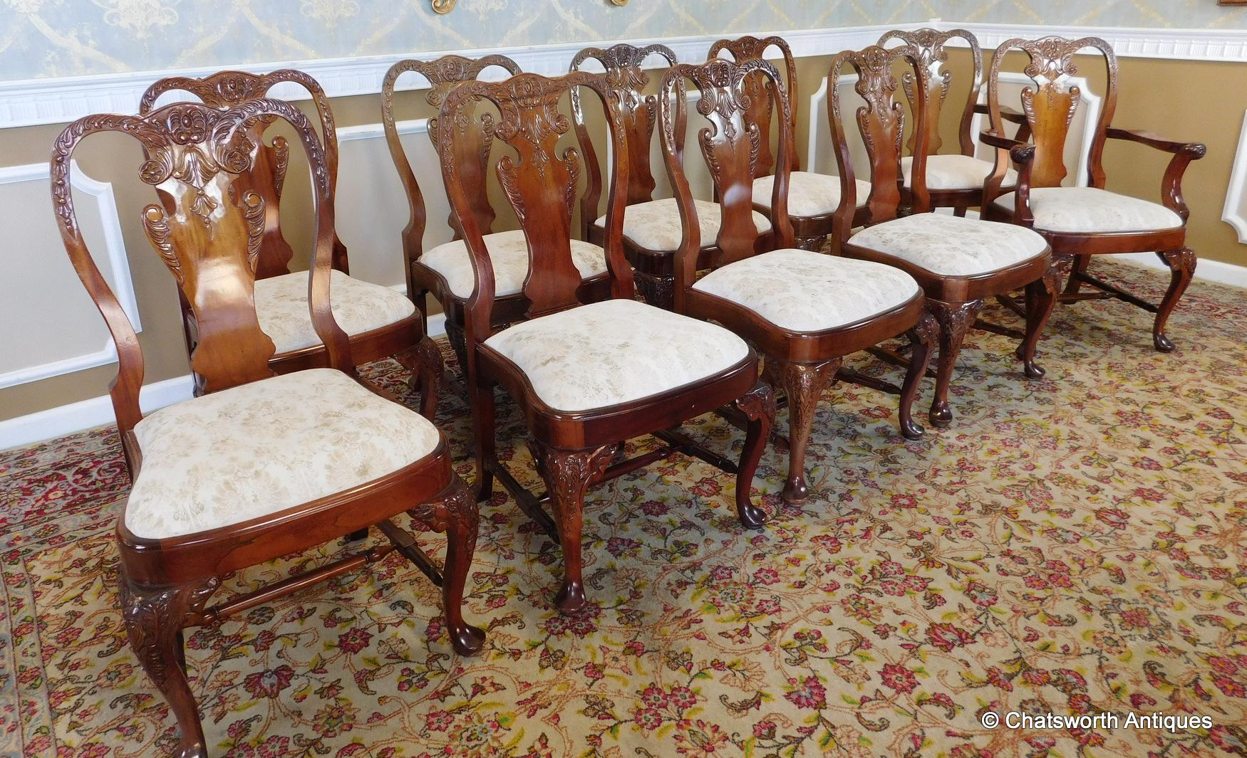 Set 10 imported 1990s carved mahogany queen anne style for Queen anne dining room