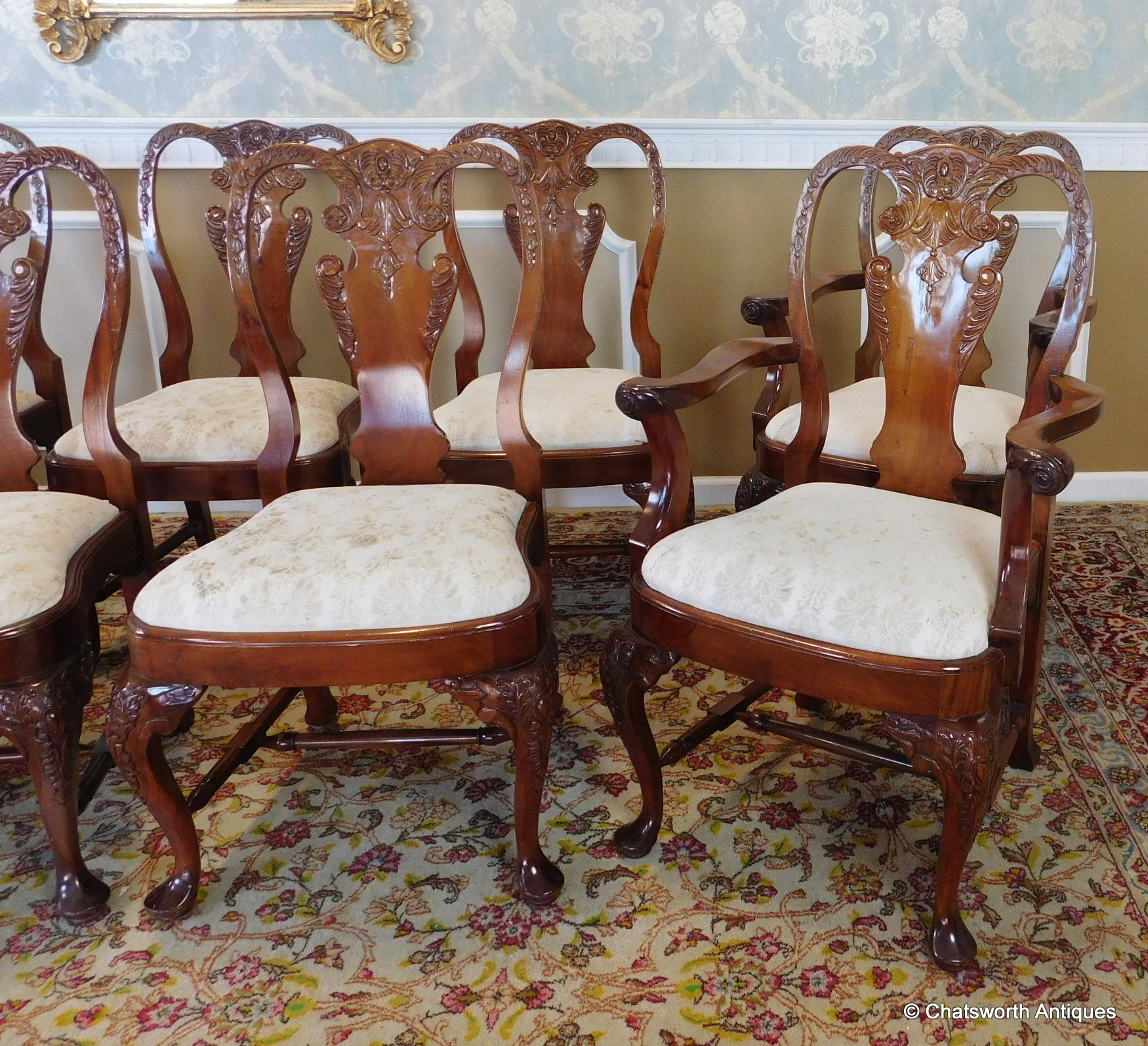 Set 10 Imported 1990s Carved Mahogany Queen Anne Style Dining Room ...