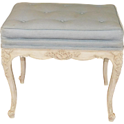 Fine 1960s Carved Frame French Provincial Tufted Upholstered Top Footstool ~ Bench 16 X 22 X 19
