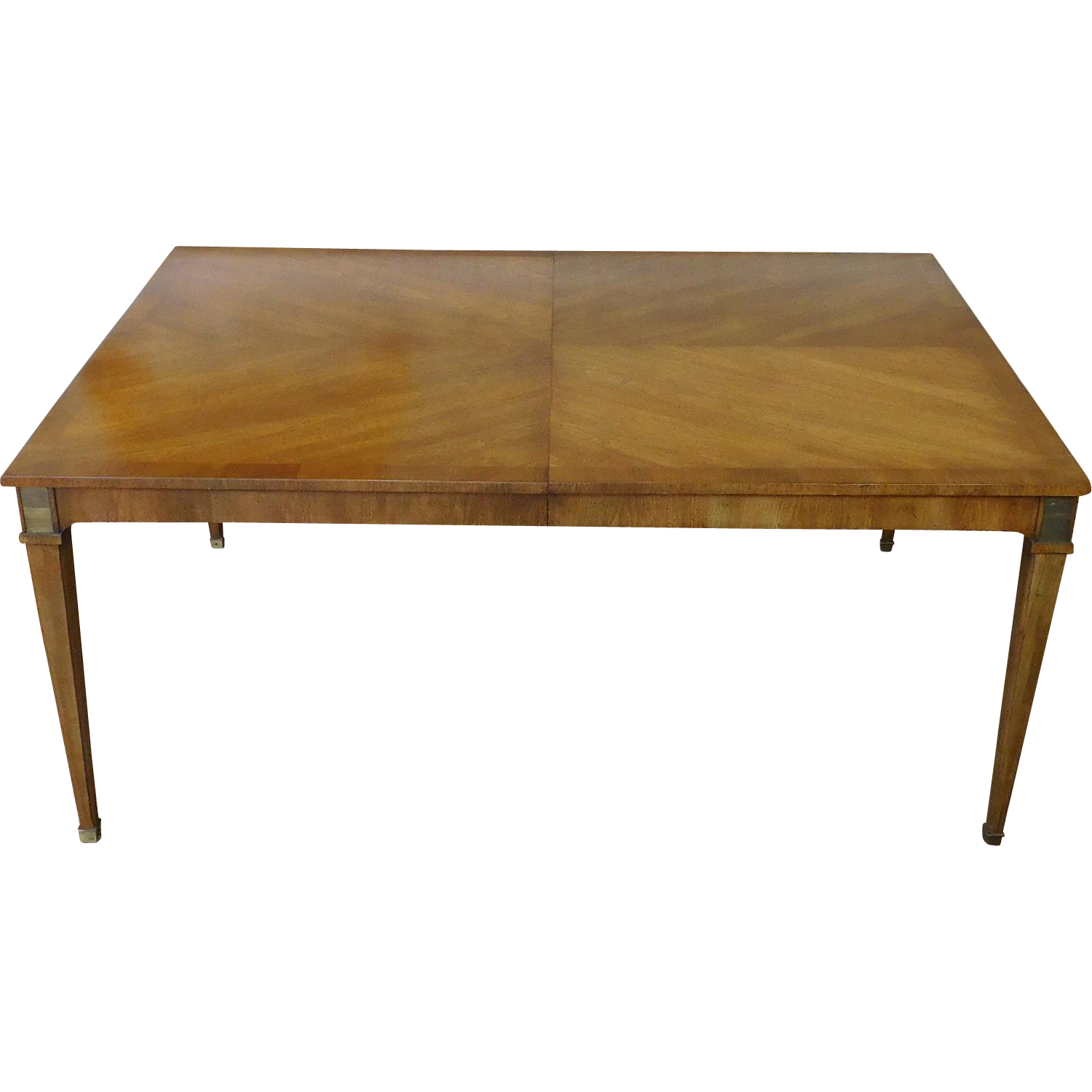 Vintage 1980s Walnut Baker Milling Road Italian Provincial Dining Room Table W 2 Leaves