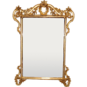 Decorative Beveled Glass Gold Frame Hanging French Style Wall Mirror 1980s