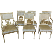 Set 6 Vintage 1950s Painted White & Gilded Italian Caned Back Dining Room Chairs