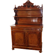 Fine Antique Carved Mahogany Victorian Renaissance 19th Century Cabinet with Shelf Top Hutch c1880