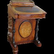 Antique 19th Century English Victorian Burl Walnut & Leather Davenport Desk c1880