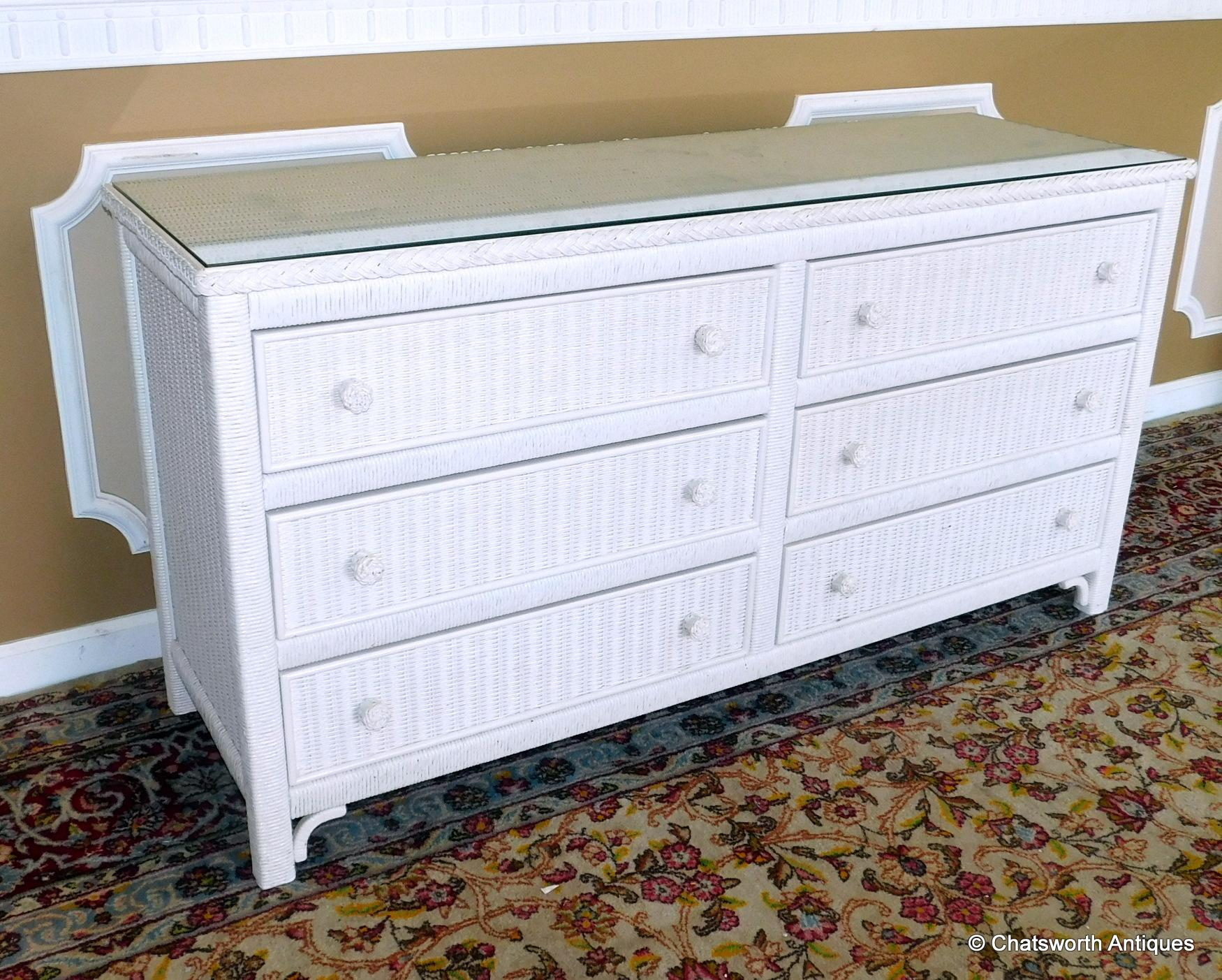 Very Good 1980s Henry Link White Wicker Glass Top 6 Drawer