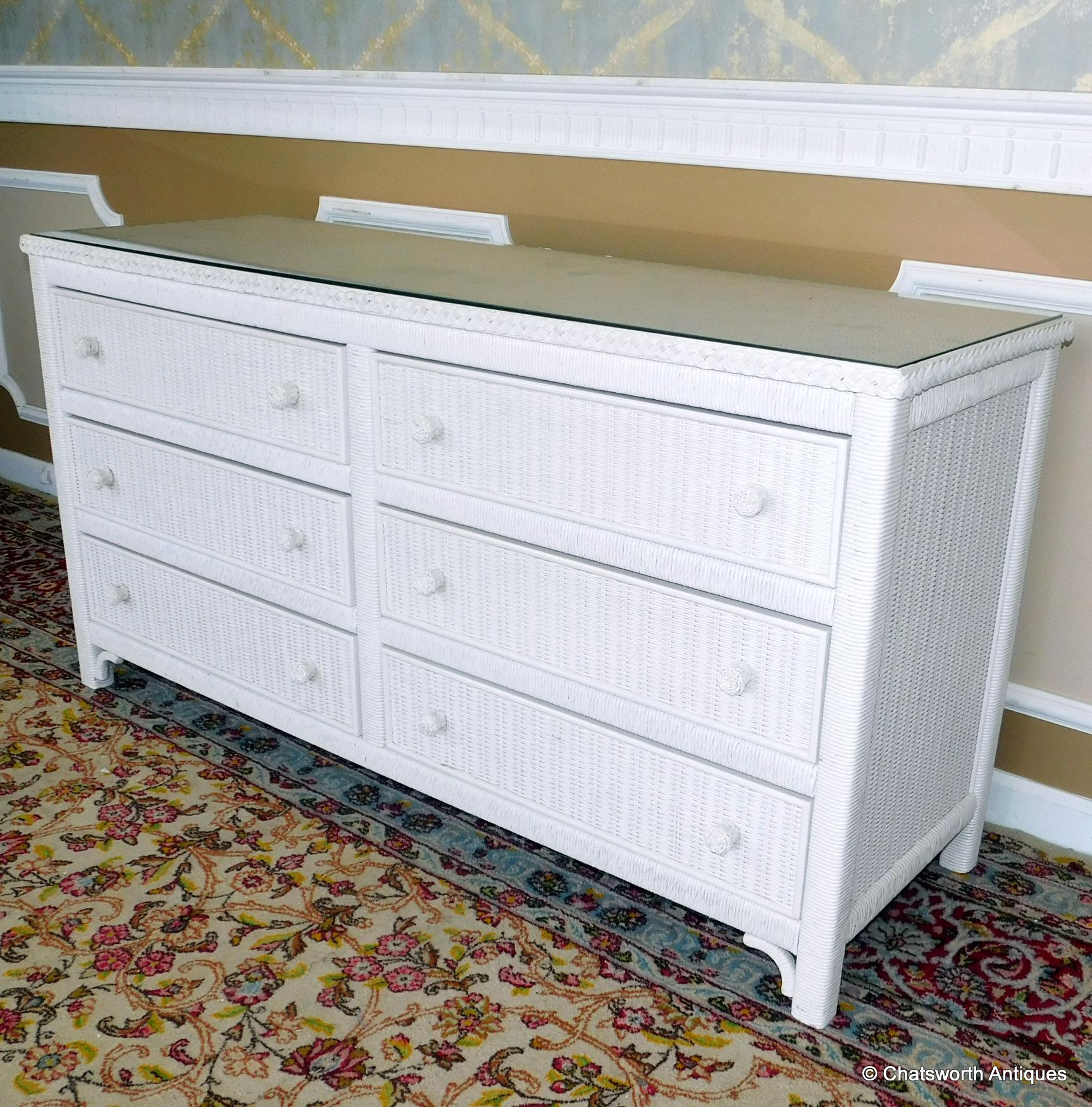 Very Good 1980s Henry Link White Wicker Glass Top 6 Drawer Bedroom