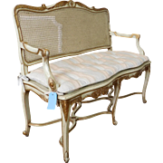 French Country Provincial White & Gilded Caned Upholstered Bench ~ Settee ~ 1960s