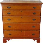 Antique Early 19th Century Primitive Pine Chippendale 5-Drawer Bedroom Chest