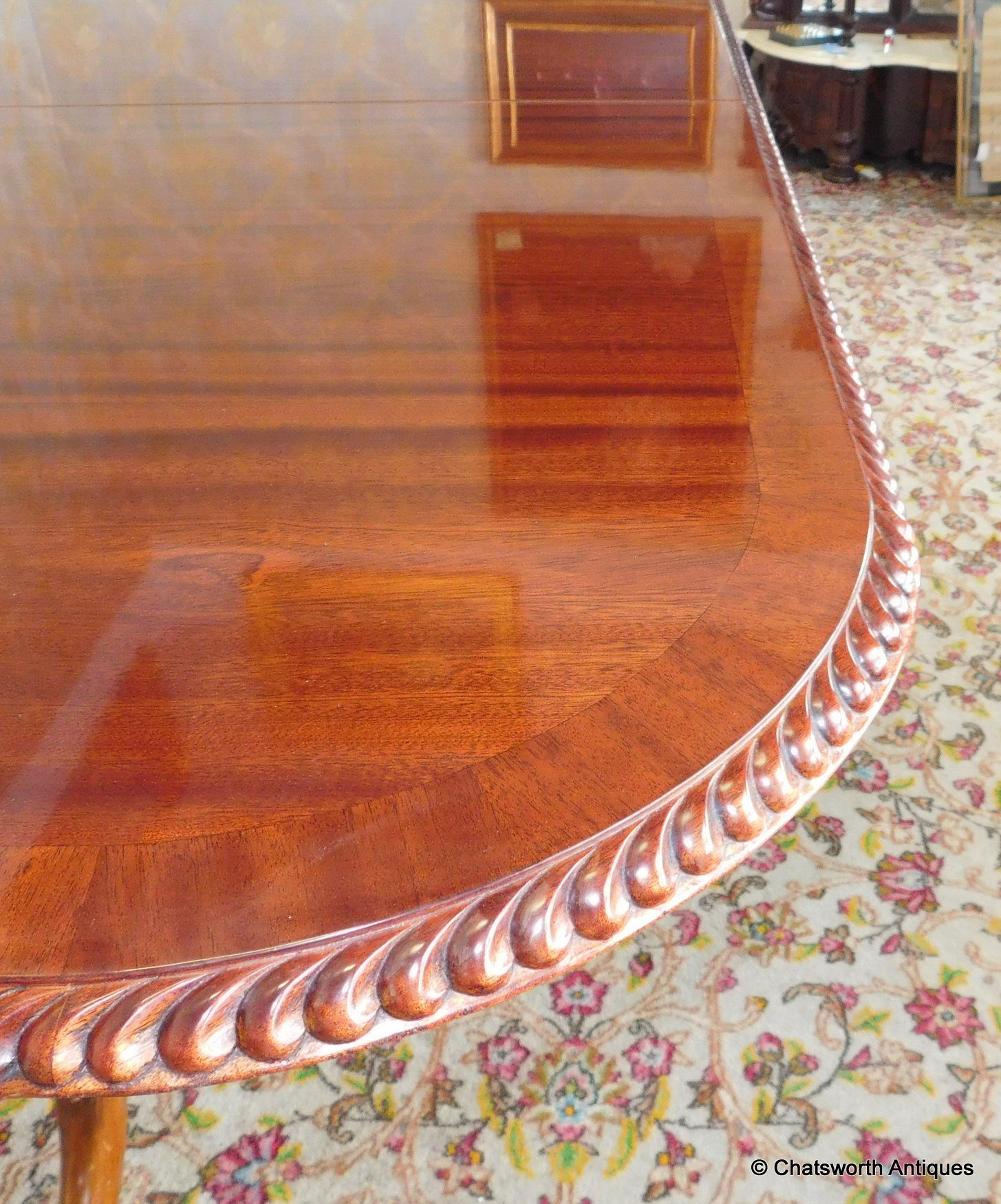 Chippendale Dining Room Table Late 20th Century Roped Edge Banded Mahogany Chippendale Dining