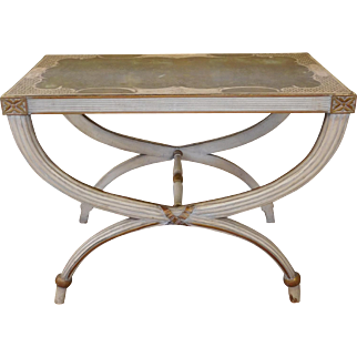1930s Antiqued Painted Regency Style Gilded Hand Painted Glass Top Hallway Console Table