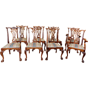 Set 8 Late 20th Century Solid Carved Mahogany Chippendale Style Dining Room Chairs