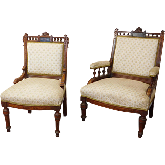 His & Her Antique Victorian Renaissance Revival Incised Carved Walnut Chairs c1870