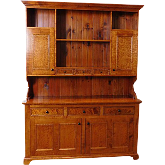 Shop Made Tiger & Birds Eye Maple 2-pc Dining Room Country China Cabinet Hutch