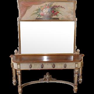 "Exceptional Antique French Walnut Painted Adams Sideboard w/ Signed Trumeau Mirror ~ ""M Tartaglia 1956"""