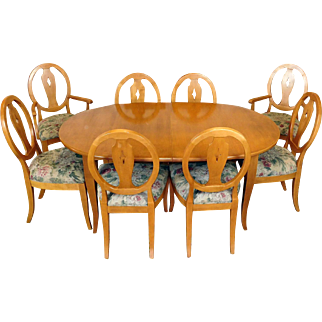Ethan Allen Country Colors Wheat Oval Dining Table ~ 2 Leaves & 8 Chairs