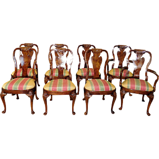 Set 8 Agastino Burl Walnut 20th Century Queen Anne Dining Room Chairs
