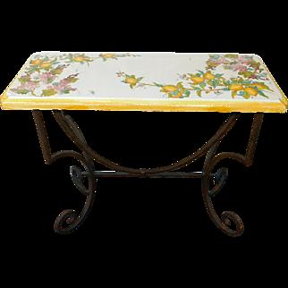 "Hand Painted Italian Tuscan Ceramic Top & Wrought iron Hallway Console Table ""La Chimera"""