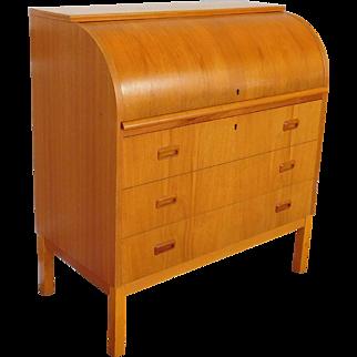 Very Good 1960s Egon Ostergaard Scandinavian Teak Modern Roll Top Cylinder Desk