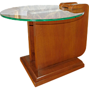Rare James Mont Designs Walnut Floating Glass Top Side Table c1950s ~ Signed