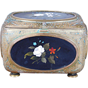Fine Antique 19th Century European Pietra Dura & Incised Metal Jeweled Lidded Jewelry Casket Box