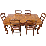 Very Fine 1960s French Country Oak & Walnut Draw Leaf Table w/ 6 Chairs