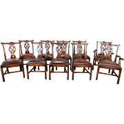 Set 10 High Quality Carved Mahogany Chippendale Style Dining Room Chairs