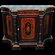 Antique Victorian Renaissance Inlaid Rosewood Credenza Cabinet, NYC c1870