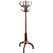 Antique Thonet Style Bentwood Flat Back Standing Hat & Coat Tree Stand c1900