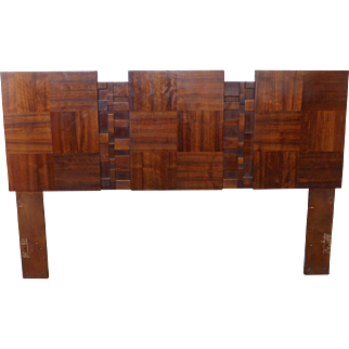 1970s Modernist Cubist Tile Brutalist Full or Queen Headboard ~ In The Style Of Lane Furniture