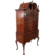 Solid Mahogany Queen Anne Style 2-part Full Bonnet Top Highboy Chest Of Drawers c1950s