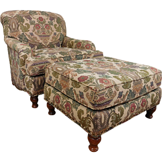"""Very Comfortable """"The Door Store"""" Upholstered Armchair w/ Matching Ottoman ~ Tapestry Material 1990s"""